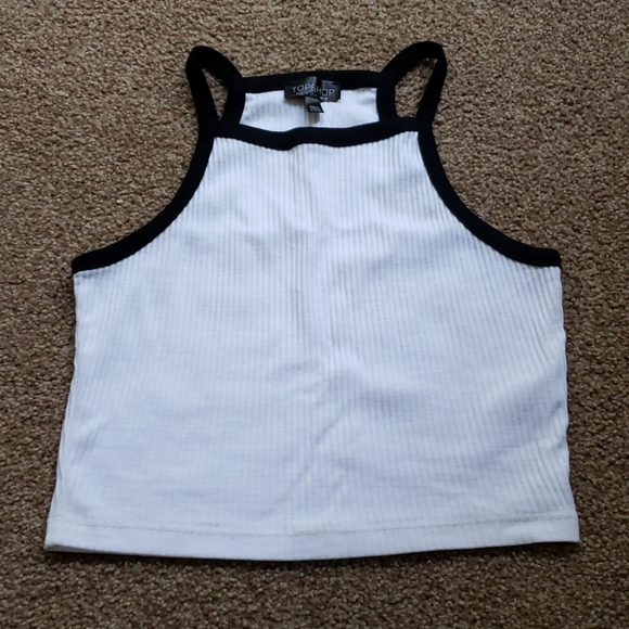 Topshop Black and White Crop Top